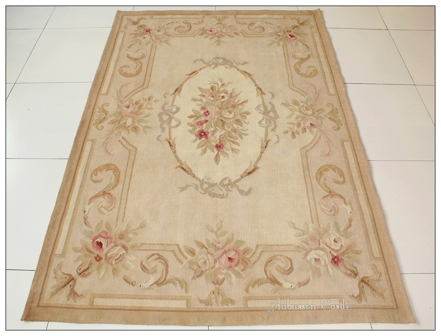 4x6 Aubusson Area Rug Antique French Pastel Wool