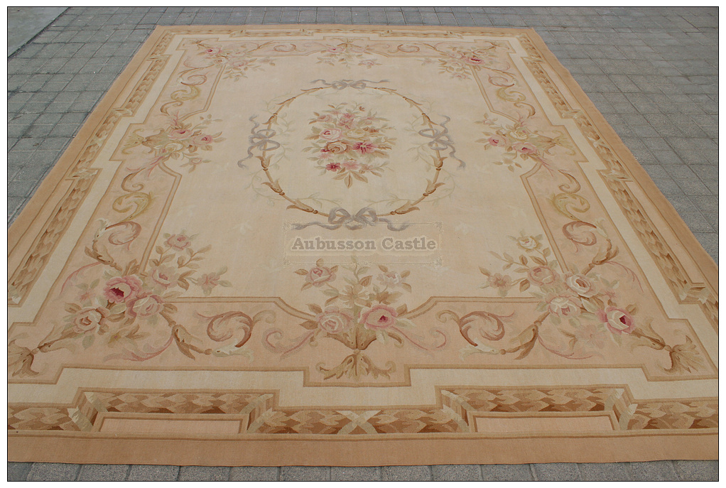 8x10 Aubusson Area Rug Antique French Pastel Wool