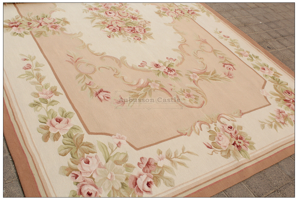 Shabby French Chic Aubusson Rug Light Pink Ivory Cream