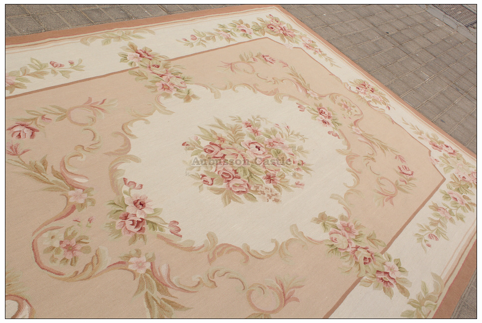 8x10 Shabby French Chic Aubusson Rug Light Pink Ivory