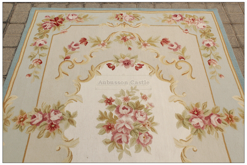 BLUE IVORY w PINK ROSE Aubusson Area Rug FREE SHIP Wool Woven SHABBY FRENCH CHIC : eBay