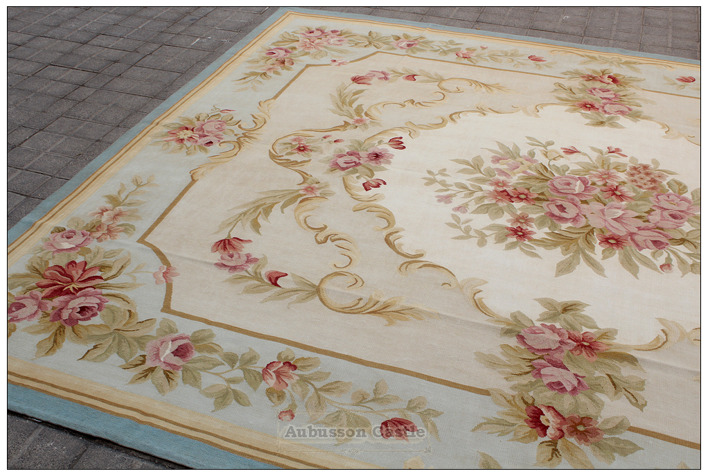 blue ivory w pink rose aubusson area rug free ship wool woven shabby french chic ebay. Black Bedroom Furniture Sets. Home Design Ideas
