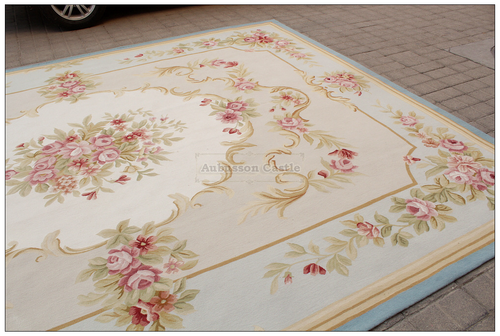 8x10 Light Blue Cream French Aubusson Rug Shabby Pink Chic