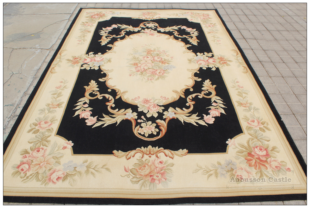 6x9 black cream pink aubusson area rug shabby french chic home decor wool woven ebay