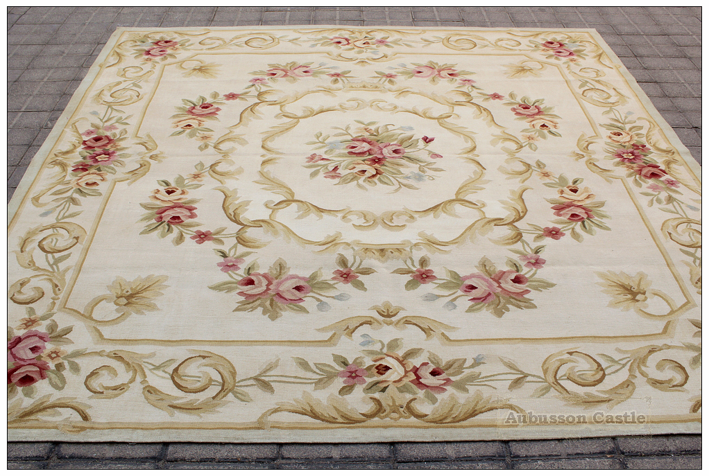 Vintage Country French Home Decor Aubusson Area Rug
