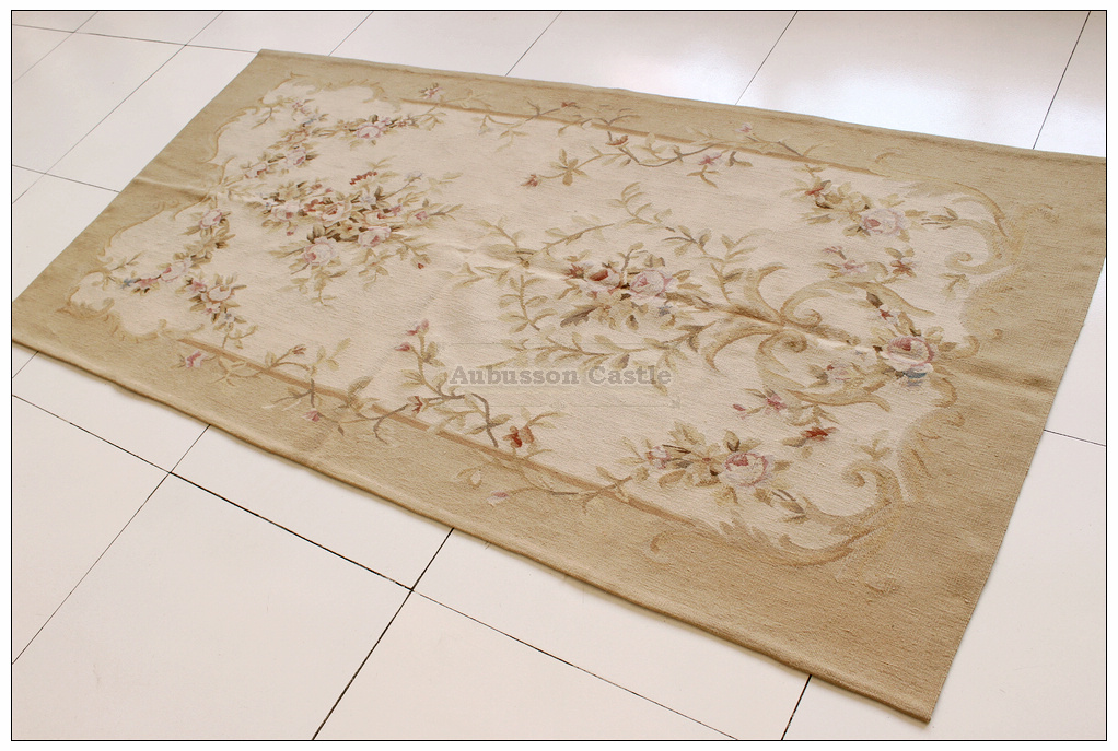 3x9 Runner Aubusson Rug Tapestry Wall Hanging Vintage