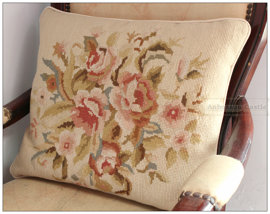 BIG 19X16 WOOL Chic Needlepoint Pillow Sofa Chair Bed Couch Settee Cushion Cover