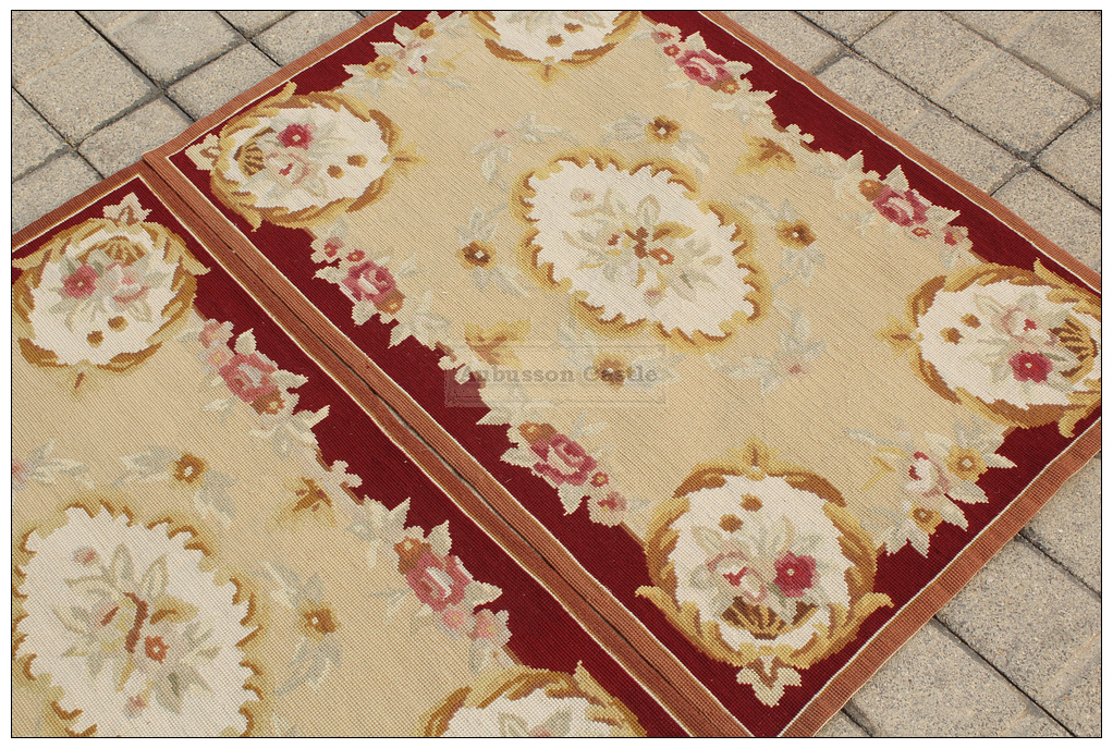 Vintage French Aubusson Needlepoint Area Rug Home Decor