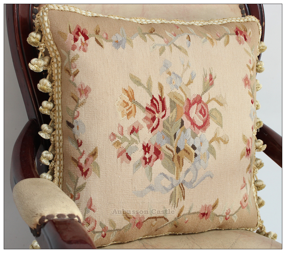 Ribbon Rose Bouquet Aubusson Tapestry