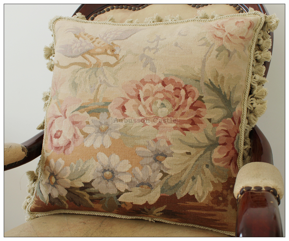 """20/"""" ANGEL Vintage French Aubusson Tapestry Throw Pillow Cover WOOL Big Handwoven"""