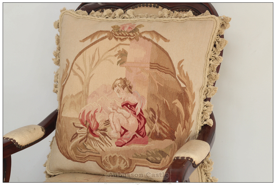Decorative Tapestry Throw Pillows : ANGEL Vintage French Aubusson Tapestry Throw Pillow WOOL Big Decorative Cushion eBay