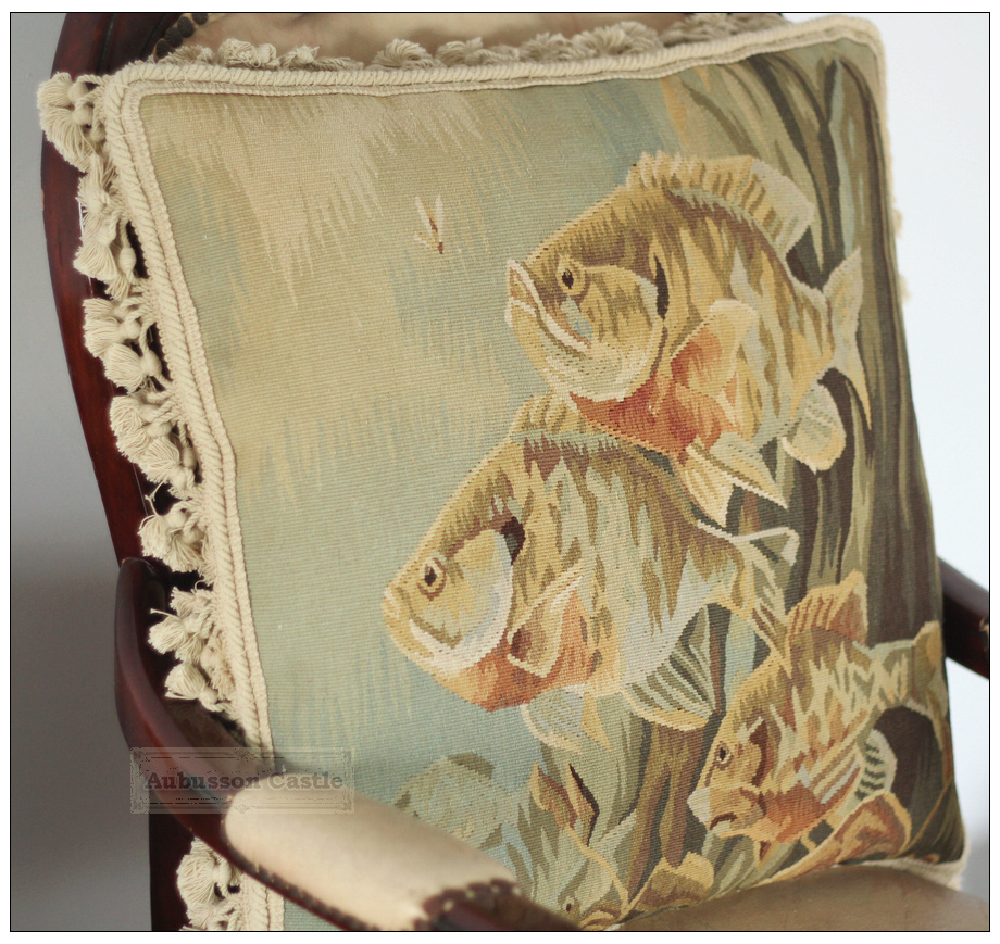 BIG Fish Aubusson Pillow ANTIQUE FRENCH DECOR Home