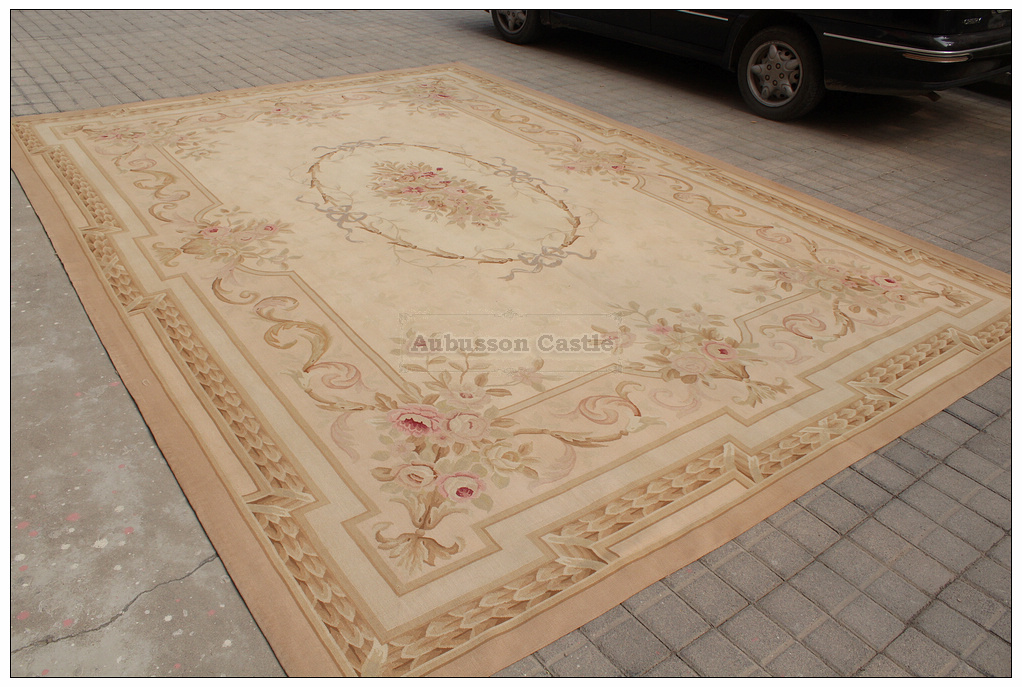 9x12 Aubusson Area Rug Antique French Pastel Wool