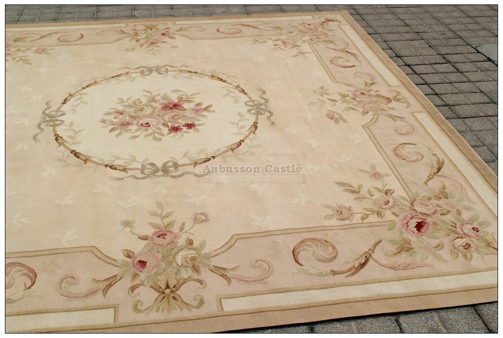 Square Aubusson Area Rug Antique French