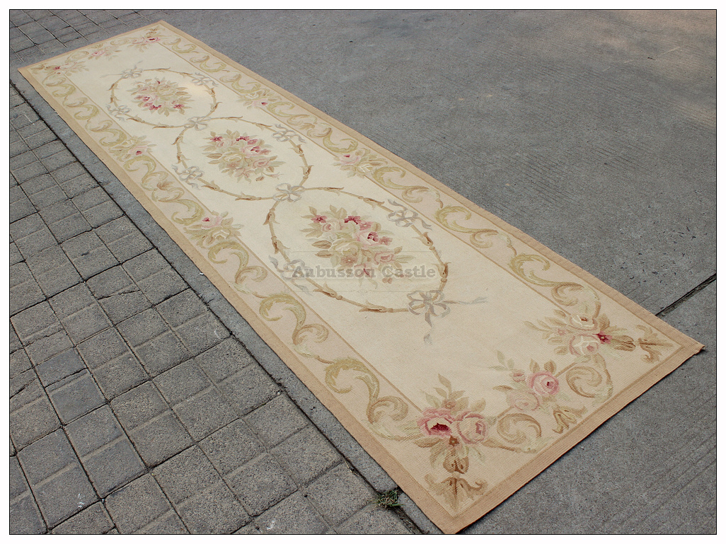 Details about 26x10 wool handwoven aubusson rug floor stair runner fine french flat weave