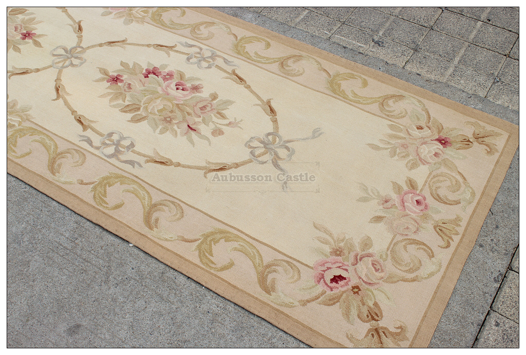 10 Runner Aubusson Rug Antique French Pastel Wool