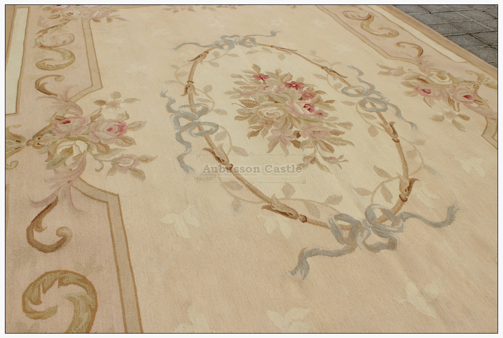 7x7 Round Aubusson Area Rug Antique French Pastel Wool