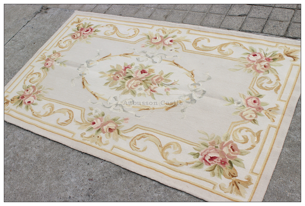 aubusson rug 3x5 grey gold pink - 3x5 Rugs