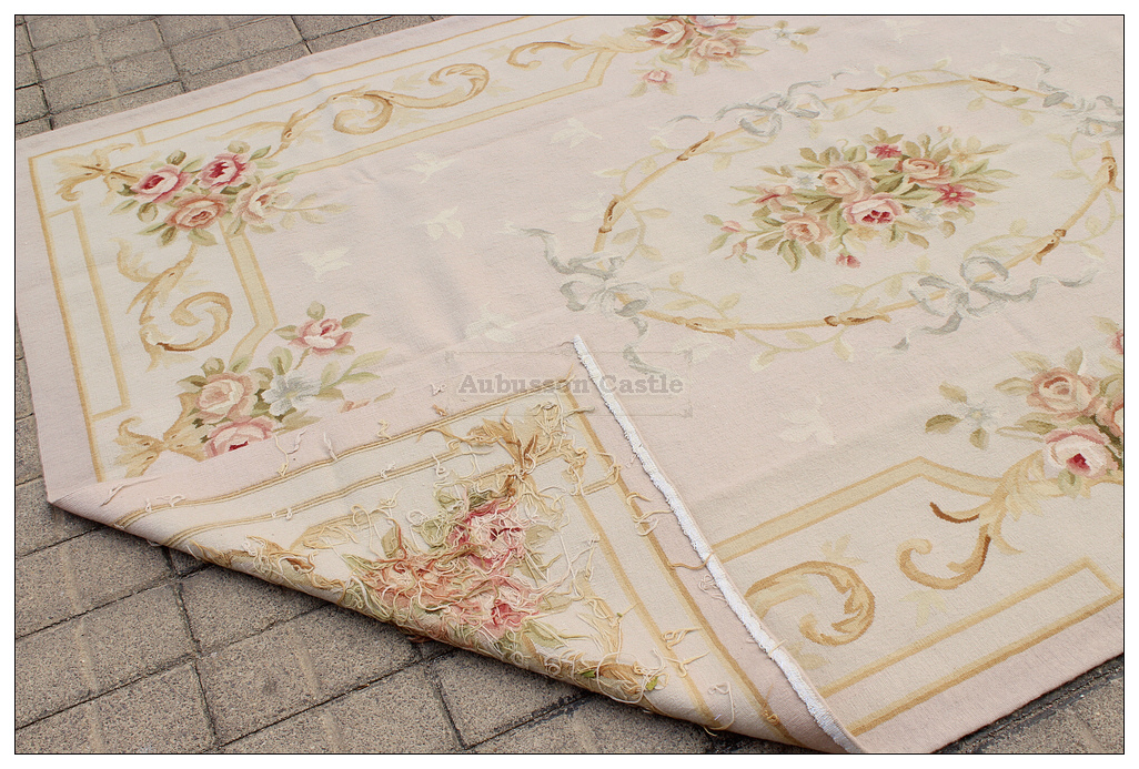 5x8 Pastel Aubusson Area Rug Light Grey Gray W Gold Pink