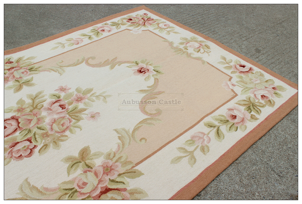 aubusson rug 3x5 shabby chic pink ivory - 3x5 Rugs