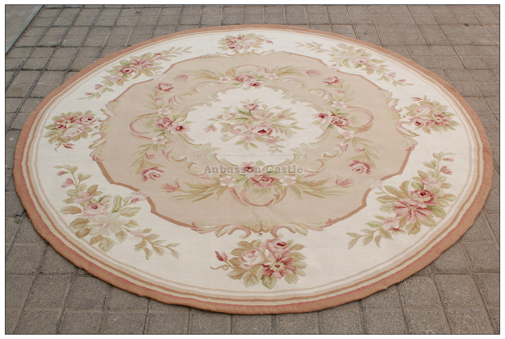 6x6 Round Shabby French Chic Aubusson Rug Light Pink Ivory
