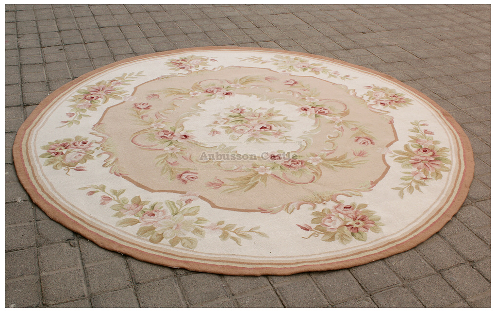 Round Aubusson Rug 6x6 Shabby Pink Chic