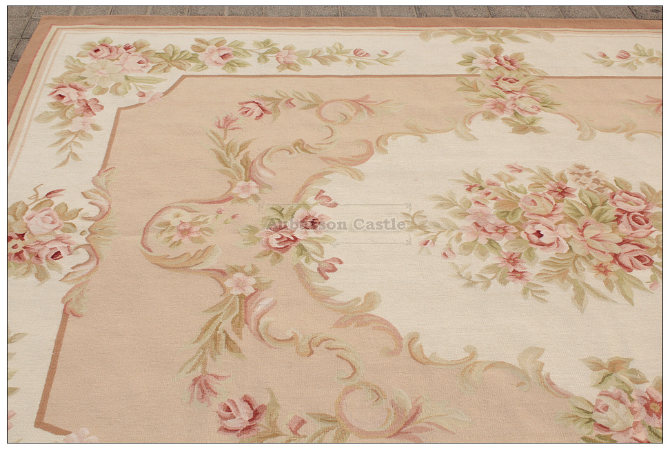 6x9 Shabby French Chic Aubusson Rug Light Pink Ivory Cream