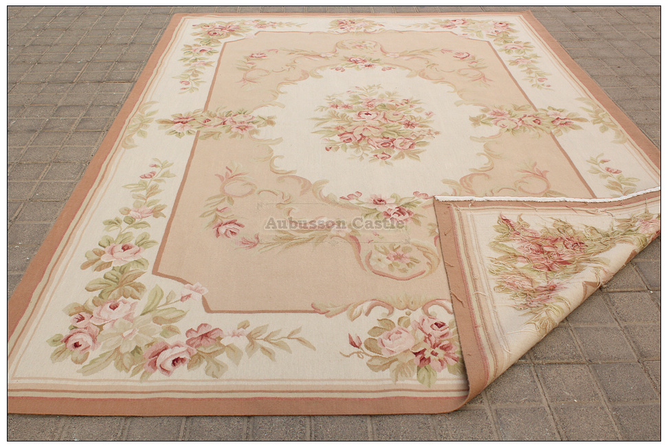 8x10 shabby french chic aubusson rug light pink ivory cream subtle rh ebay com shabby chic carpet ideas shabby chic stair carpet