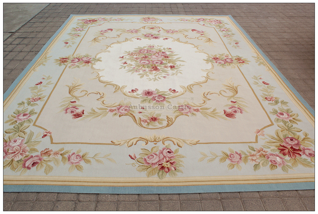 Authentic Handmade Rug 9x12 Ivory French Aubusson Rug Area Rugs Rugs & Carpets