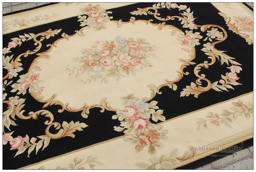 Handwoven 6x9 Wool Aubusson Area Rug Black Ivory W Pink