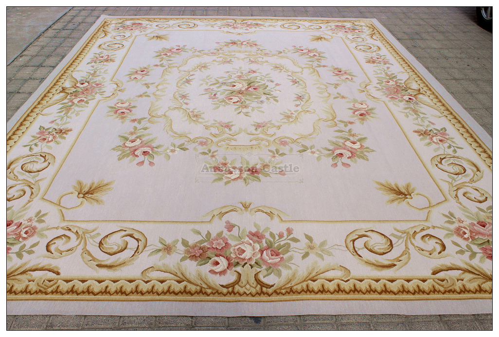 Aubusson Rug 9 X12 Gray Silver Pink