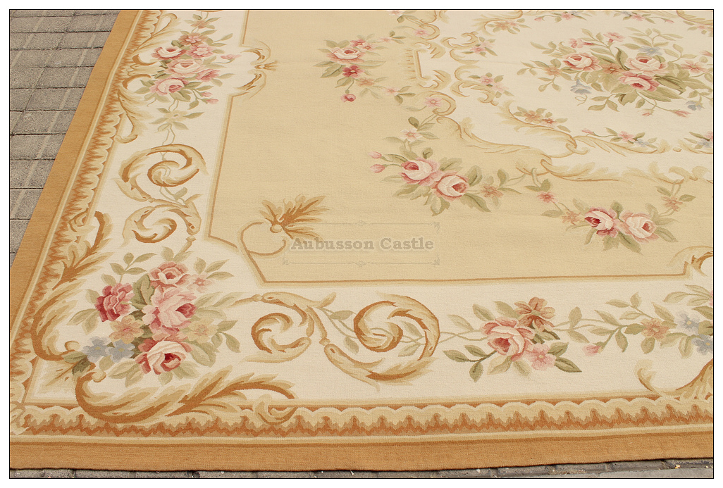 Aubusson Rug Yellow Beige Ivory