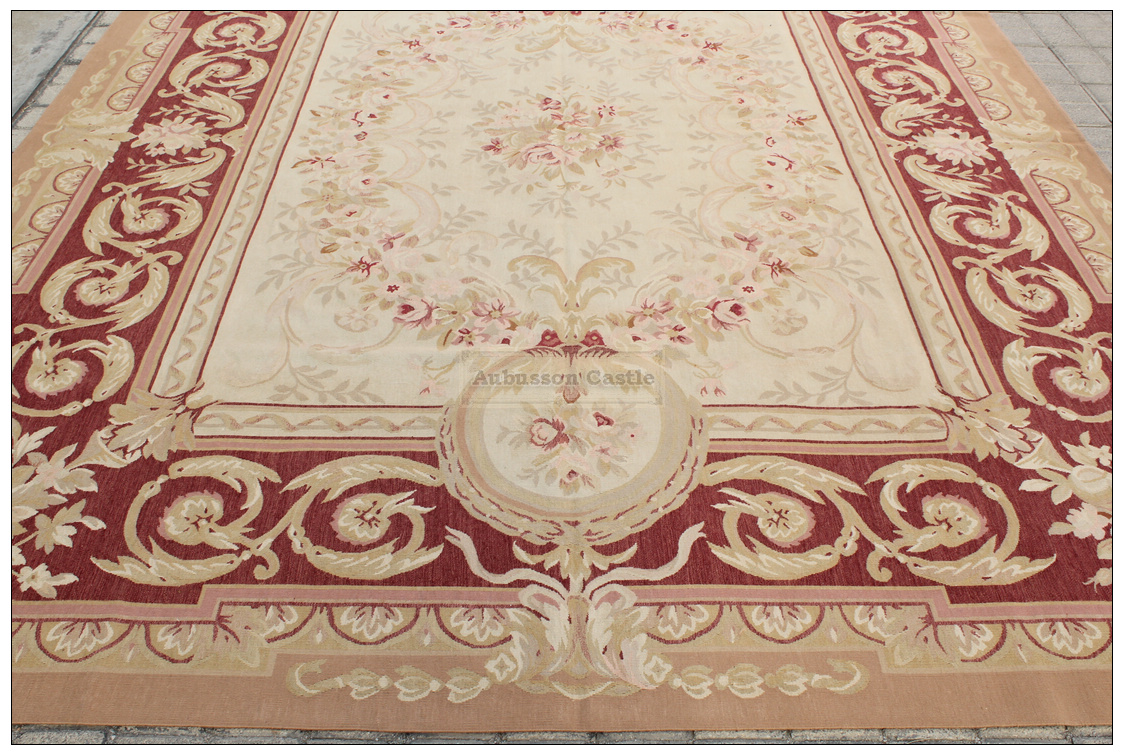 Aubusson Rug Rust Antique Red W French Medallion