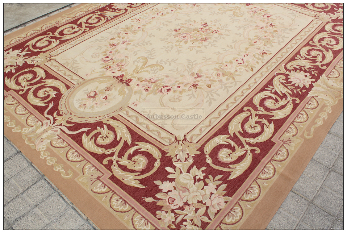 Antique Red Beige 8x10 Aubusson Area Rug Classic French