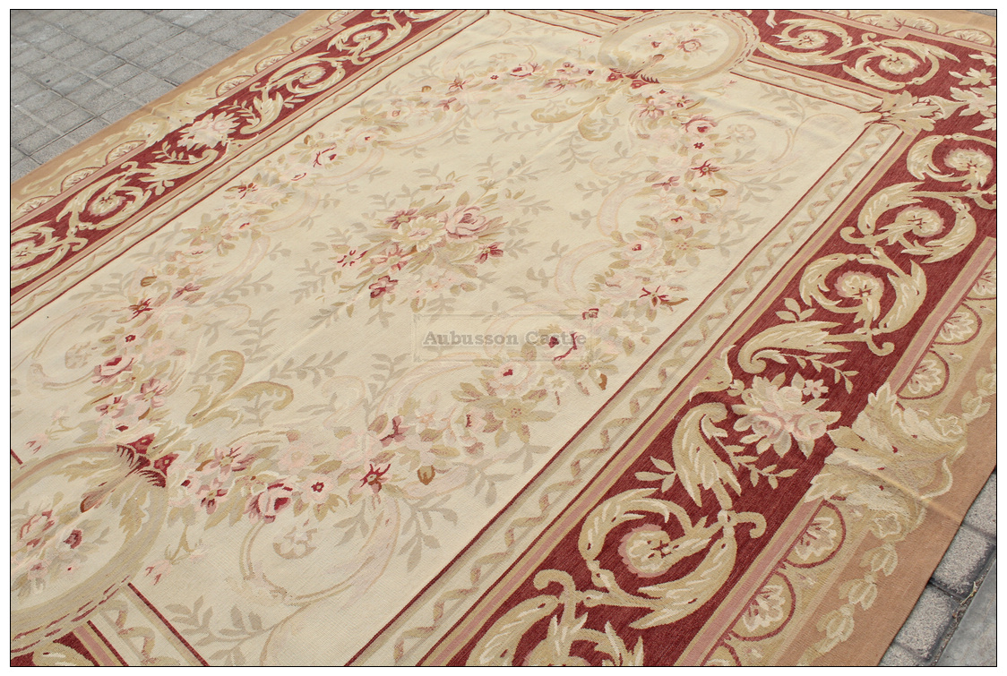 4x6 aubusson area rug - antique french pastel wool handmade flat