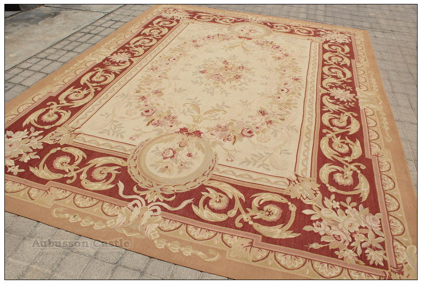 aubusson rug rust antique red w french medallion - Aubusson Rugs