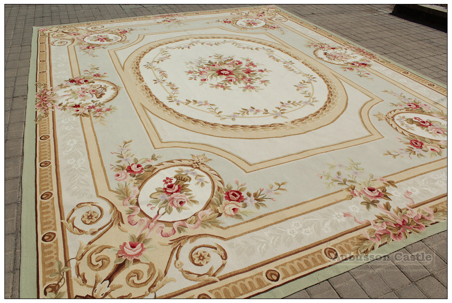 Aubusson Rug   9u0027x12u0027 Pastle Light Green Ivory ...