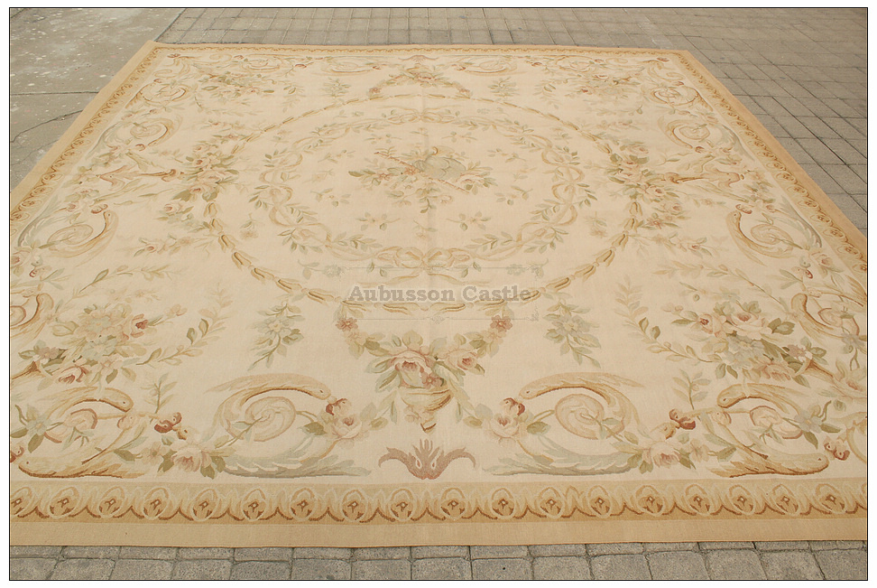 Pastel Antique French Aubusson Area Rug Free Ship Country
