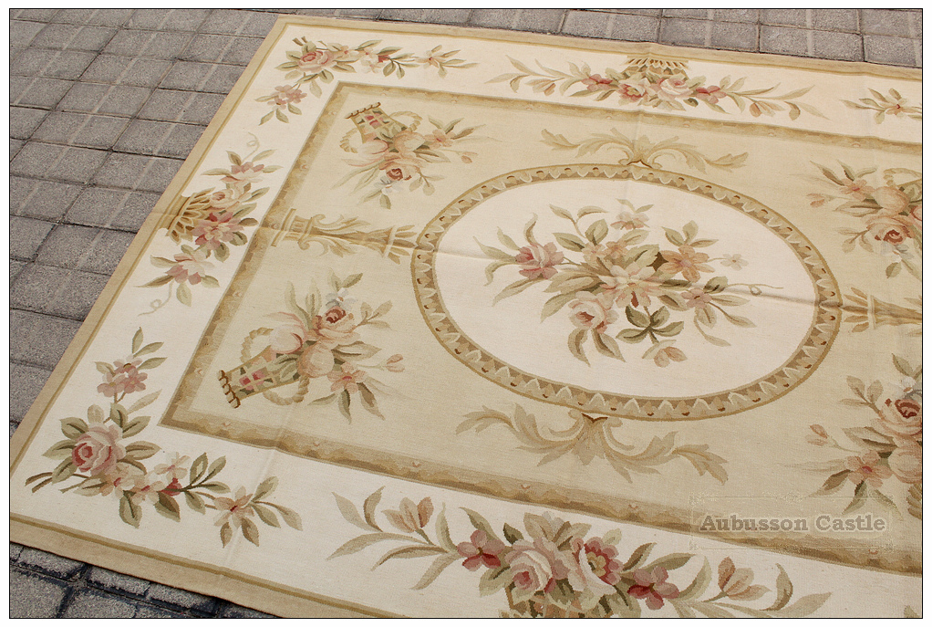 Luxury Bronze Gold Aubusson Rug Pastel
