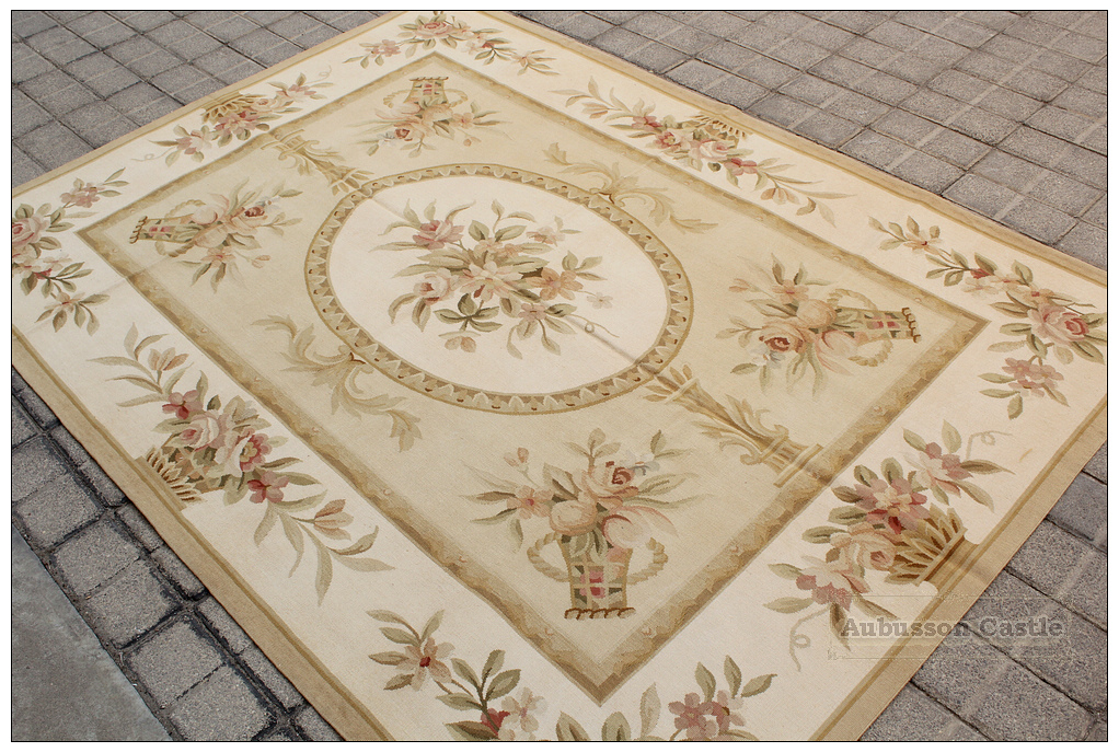 Gold Ivory Aubusson Rug Pink Rose