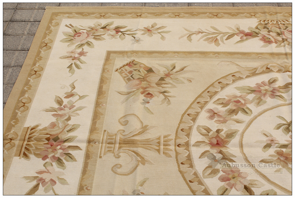 Aubusson Rug 6x8 Pastel Gold Cream
