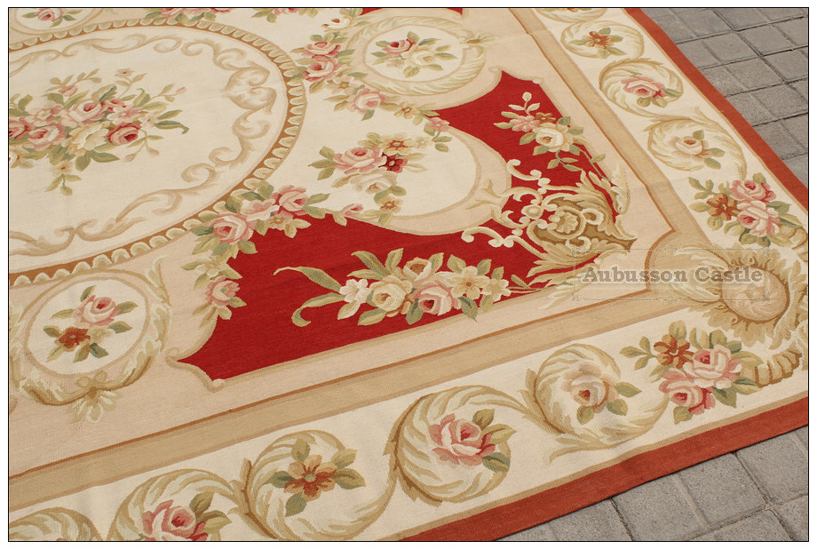 aubusson rug red pink cream - Aubusson Rugs