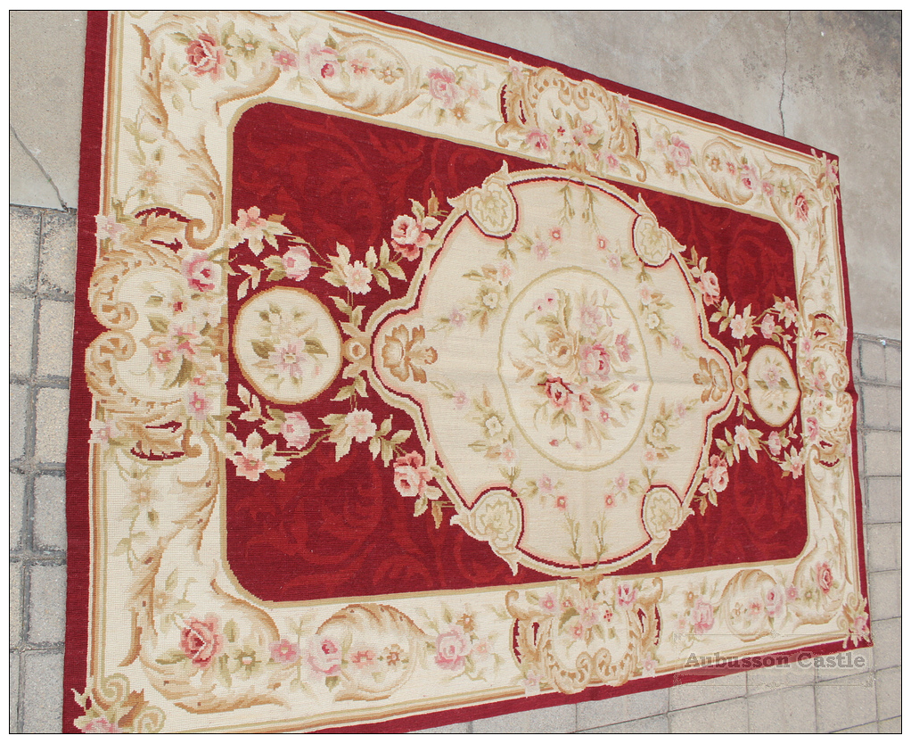 4x6 Shabby French Chic Aubusson Needlepoint Area Rug