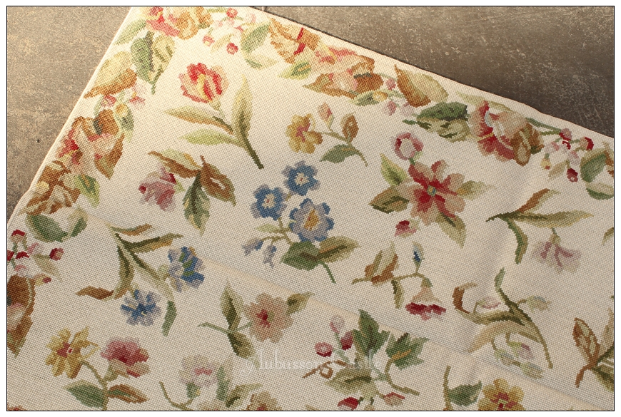 Needlepoint Rose Floral Rug Cream