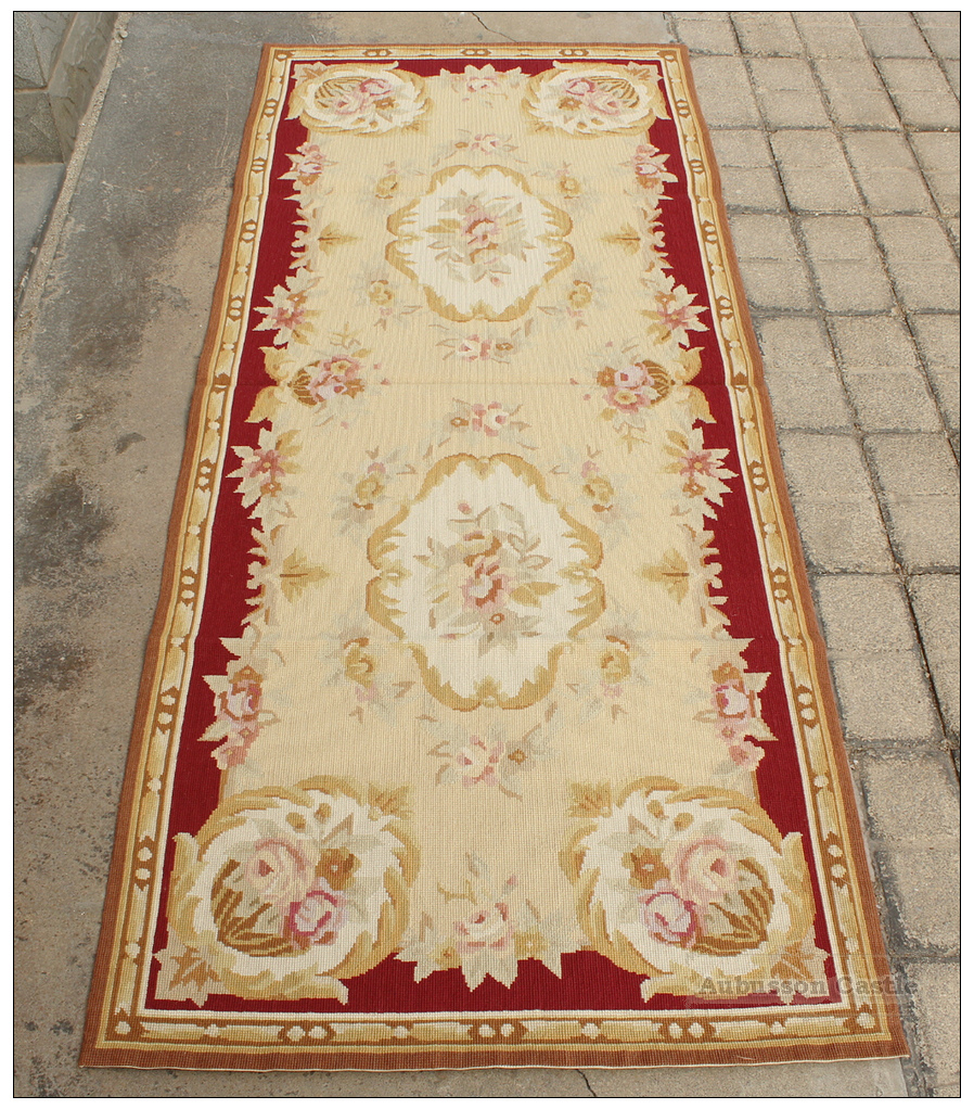 Vintage french aubusson needlepoint area rug home decor for Rug on carpet decorating